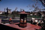 [La Paz Plaza sign and kiosk, 1971 slide].