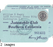 Automobile Club of Southern California membership card