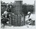 Engineering Technology building construction showing column reinforcement rebar