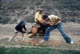 [Log sawing contest at Mission Viejo Days, 1976 slide].