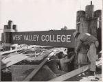College sign construction, Saratoga campus