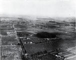 Aerial photo of Santa Fe Springs, with Clarke Estate towards center of photo