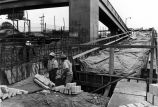 Construction of a bridge over the Santa Ana Freeway