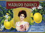 "Crate label, ""Maduro Brand."" Corona Lemon Co., Corona, Riverside Co. California"