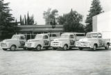 Fleet of four company trucks for the Rich and Barber Hardware Store in Banning, California