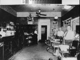 Photograph of Deluxe Barber Shop interior, Marysville (Calif.)