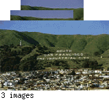 View over house tops to Sign Hill and showing the South San Francsico The Industrial City signage & new illuminated 100 sign [postcard] - front; poster art winners on  stamps on reverse of two cards (same front) with birthday postage cancellations.