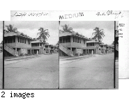 Street Scene showing sanitary construction of employees houses in Colon, P.C. Zone, houses elevated height of one story above ground on concrete pillars.
