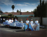Photograph of Placentia Historical Committee members marching in Heritage Day Parade