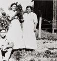 Left to right: Enrique Leyva, Purisimeno Chumash descendant, Maria Antonia Leyva (nee Tumamait), Ventureno Chumash, and Maria Basilisa Tumamait (nee Barrios), Ventureno Chumash : circa 1915 ; probably taken near their homes on North Olive Street, Ventura.