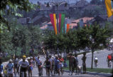 [1984 Olympics Cycling Road Race venue with Mission Viejo residents on racecourse slide].
