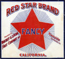 """Crate label, """"Red Star Brand."""" Fancy. Packed by Worthley & Strong. Riverside, Calif."""