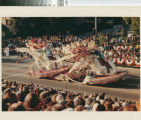 """[""""Sweet Days of Love"""" 1983 Rose Parade float from Mission Viejo photograph]."""