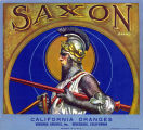 "Crate label, ""Saxon Brand."" California Oranges. Virginia Groves, Inc. Riverside, Calif."