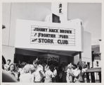 Photo of the Theater on the 400 block of East 6th Street during the 1947 Cherry Festival.