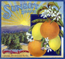 "Crate label, ""Sunset Brand."" Corona Citrus Association, Corona, Riverside Co., Calif."