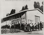 Photograph of students registering for classes at Alameda County State College