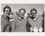 Photograph of John Harbison, John Adams, and Morton Feldman