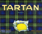 "Crate label, ""Tartan Brand."" Grown and packed by Corona Foothill Lemon Co. Corona, Riverside Co., Calif."