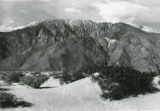 """View of the """"""""Angel"""""""" on the San Jacinto Mountains taken between Cabazon and Whitewater, California"""