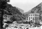Balch afterbay dam, rear end of Balch powerhouse showing end of concrete chute