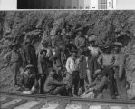 Workers tearing up the tracks of the Mount Tamalpais & Muir Woods Railroad