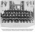 Football team, Top row, standing, left to right: Coach Driver, Barker, Eliot E. Brown, Tout, Tom Bird, R.E. Osborne, Ingram, Robert Shreve, Wood, R.E. Wattenberger, Silliman, Gerson (trainer). Middle row, seated: Arthur Schober, Smoyer, E. Bieler, R. Crenshaw, Helm, Charles F. Bielar, Holm, Fiorini, Everett Robinson, Gay, Anixter. Bottom row, seated: William Herms, Leonard Krehbiel, Weeth, Kenneth A. Grubbs, Lutz, Joe Perrelli-Minetti, Moss, Edgar Norris, Charles Moisan, Brian.