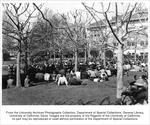 Sproul, Robert Gordon, addressing student assembly in Sunken Garden