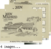 [New Madrid, Casa Sarga, plan 67 floor plan and exterior renderings brochure].