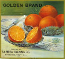"Crate label, ""Golden Brand."" Packed by La Mesa Packing Co., Riverside, Calif."