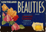 "Crate label, ""Southland Beauties Brand."" Grown and Packed by Jameson Company, Corona, Riverside Co., Calif."