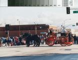 Bakersfield Centennial parade, horse-drawn fire department hose wagon