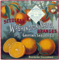 "Crate label, ""Seedless Washington Navel Oranges."" Packed by Griffin & Skelley Co., Riverside, Calif."