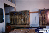 "Two of the five sections of the 1938 Alfredo Ramos Martinez fresco mural ""El Dia del Mercado"" before restoration by Nathan Zakheim at his Playa Vista studio, 2003"