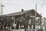 The Southern Pacific Railroad depot and passengers in Banning, California