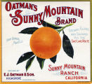 "Crate label, ""Oatman's Sunny Mountain Brand."" Sunny Mountain Ranch, California. ""Grown Along and Shipped via the Salt Lake Route."" Grown by E.J. Oatman & Son. Highgrove, Riverside Co., Calif."
