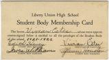 student body membership card 1921-22