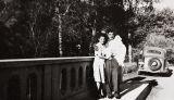 Edna Rodriguez (nee McLean), Barbareno Chumash descendant, and Philip Rodriguez, Ventureno Chumash descendant, with their daughter, Carol : 1945.