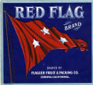 "Crate label, ""Red Flag Brand.""  Flagler Fruit & Packing Co. Corona, California"