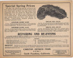 "Cawston Ostrich Farm Advertisement Card: ""Special Spring Prices"" (Front)"