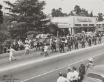 The Beaumont High School Band marching in the 1947 Cherry Festival Parade.