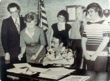 Photograph of signing over the Albert S. Bradford House to the Placentia Founders Society.