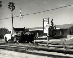 The old railroad tracks are removed from the street in front of City Hall, Coronado. c. 1958
