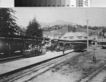 Gravity car and train from the Mount Tamalpais and Muir Woods Railway in the Mill Valley station