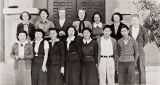 The Scholarship Society, Lompoc High School : 1938 ; the Society was an example of the hardworking and academically conscientious Japanese students ; president: LeRoy Bowersox ; secretary-treasurer: Margaret Martin ; seniors: LeRoy Bowersox, Hanako Shirokawa, June Tokuyuma, Thelma Donelson, Margaret Martin, Mary Henderson, and Wilma Lewis ; juniors: Yaeko Iwamoto, Kimiko Sokanashi, and Miyoko Iwamoto ; sophomores: Shirley Martin, Megumi Hotta, Evelyn Houck, and Takeo Iwamoto.
