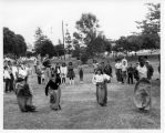Photograph of sack race.