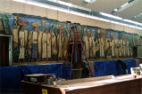 All five panels of the El Dia del Mercado mural by Alfredo Ramos Martinez are set in place and ready to receive continued on-site restoration work, Coronado, 2005