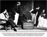 "Drama production, ""Three Sisters"" Rehearsal. Left to right, Howard Poyourow (Vershivin), Lance Jencks (Tusenbach), Alfred Rossi (Director), Nancy Helms (Masha)"