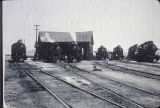 "The """"Round House"""" and steam locomotives on railroad tracks in Beaumont, California"