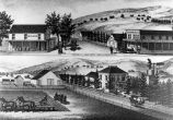 Residence and farm of John Green, (c.1860s), lithograph drawing